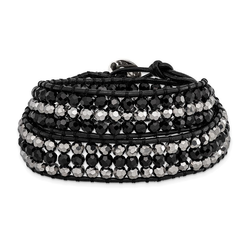 Quality Gold Black Aurora Borealis/Grey Crystal Bead/Leather Multi-wrap Bracelet