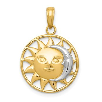 14k and Rhodium Sun and Moon Charm