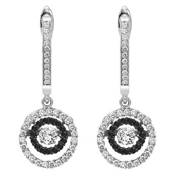 14K Black Diamond Rhythm Of Love Earrings 1/2 ctw