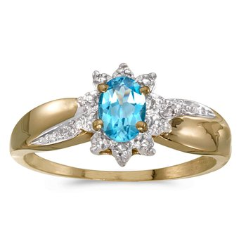 10k Yellow Gold Oval Blue Topaz And Diamond Ring