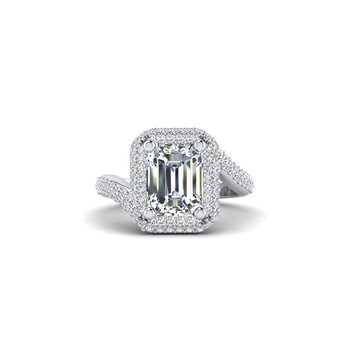 OMG Series Bypass Emerald Cut Diamond Engagement Ring