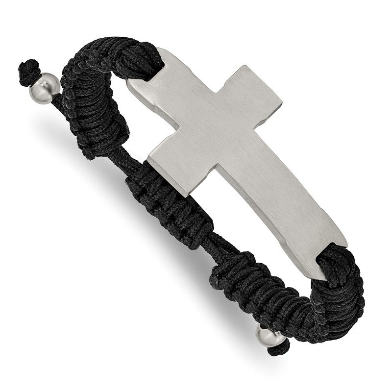 Chisel Stainless Steel Brushed and Polished Black Nylon Adjustable Cross Bracelet