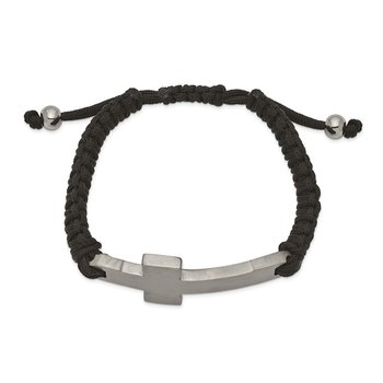 Stainless Steel Brushed and Polished Black Nylon Adjustable Cross Bracelet