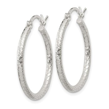 Sterling Silver Textured 2x25mm Hoop Earrings