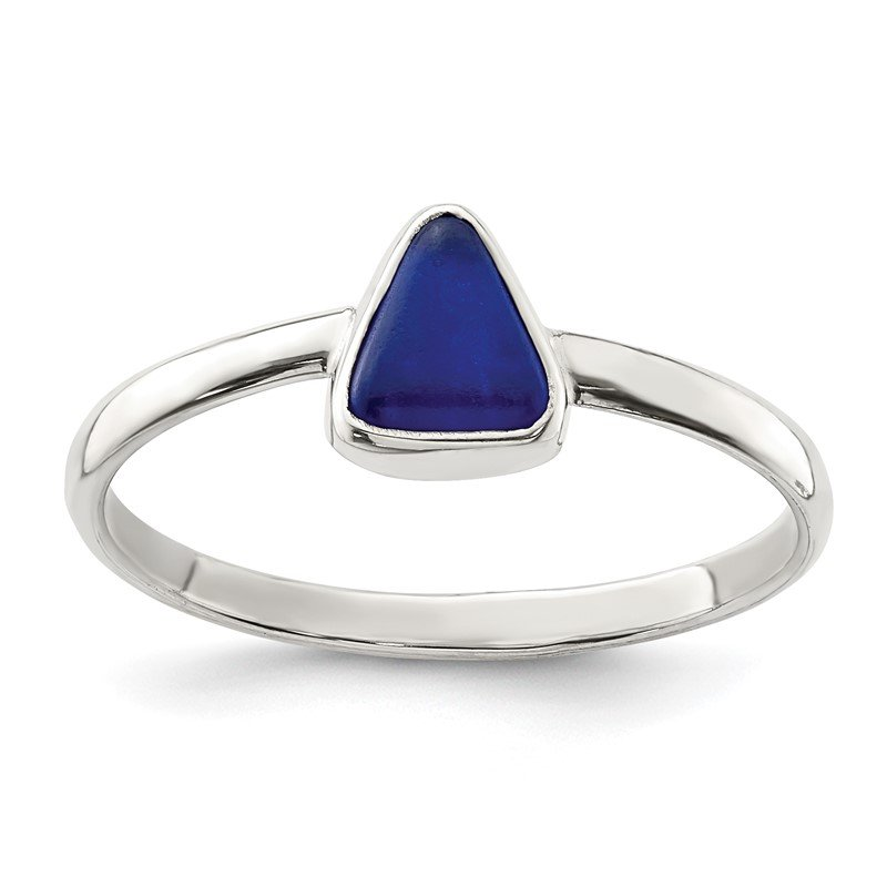 Quality Gold Sterling Silver Blue Sea Glass Triangle Ring