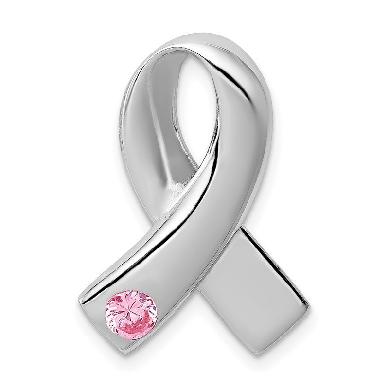 Quality Gold Sterling Silver Rhodium-plated Pink CZ Awareness Ribbon Pendant