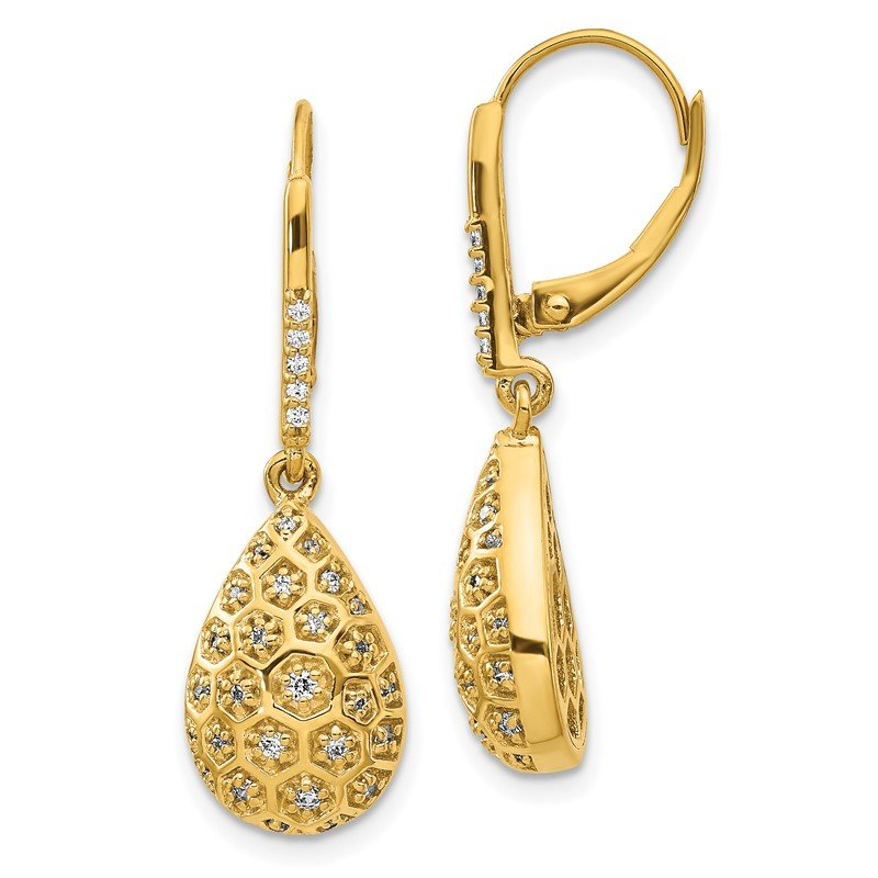 Quality Gold 14k Diamond Honeycomb Leverback Earrings