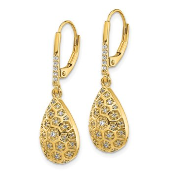 14k Diamond Honeycomb Leverback Earrings
