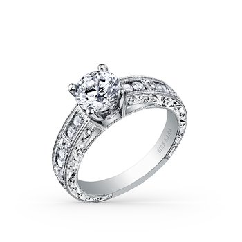 Expressive Engraved Diamond Engagement Ring