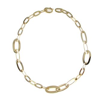 18Kt Gold Graduated Oval Link Necklace