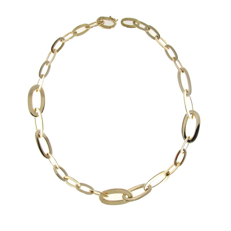 Roberto Coin 18Kt Gold Graduated Oval Link Necklace