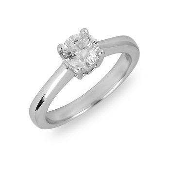 14K WG Diamond Solitaire Engagement Ring