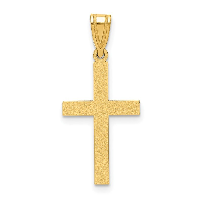 Quality Gold 14k Sand Blasted Cross Pendant