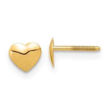 14k Madi K Heart Silicone Screwback Earrings