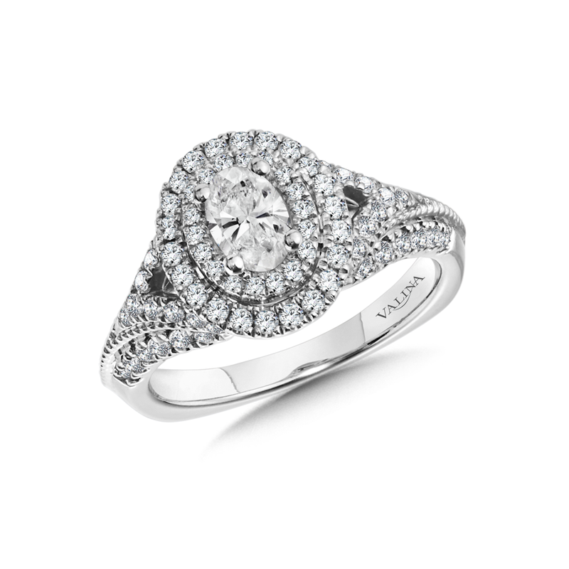 Valina Double Halo Engagement Ring Mounting in 14K White Gold (.68 ct. tw.)