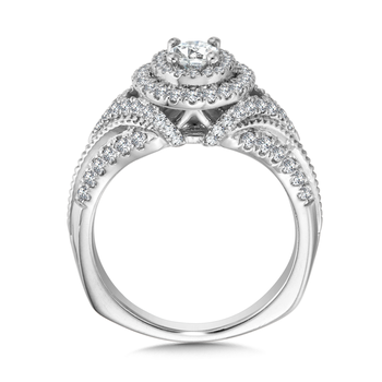 Double Halo Engagement Ring Mounting in 14K White Gold (.68 ct. tw.)
