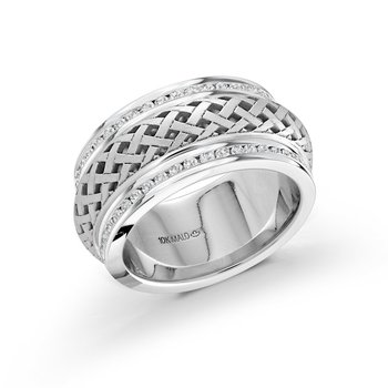 9mm all white gold pattern cut out center band, embelished with 86X0.01CT edge-set diamonds, creating an exquisite sparkling look