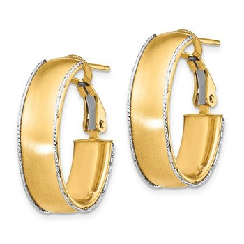 14k 7.5mm Satin with WG D/C wire Accent Oval Hoop Earrings