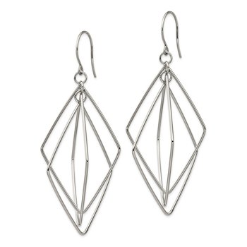 Stainless Steel Polished Geometric Triple Diamond Shape Dangle Earrings