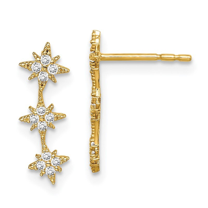 Quality Gold 14k Madi K CZ Star Drop Bar Dangle Post Earrings