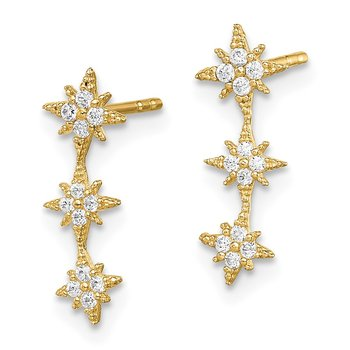 14k Madi K CZ Star Drop Bar Dangle Post Earrings