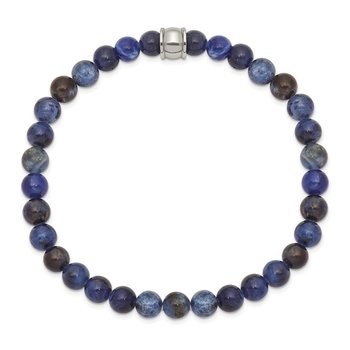Stainless Steel Polished Blue Sodalite Stretch Bracelet