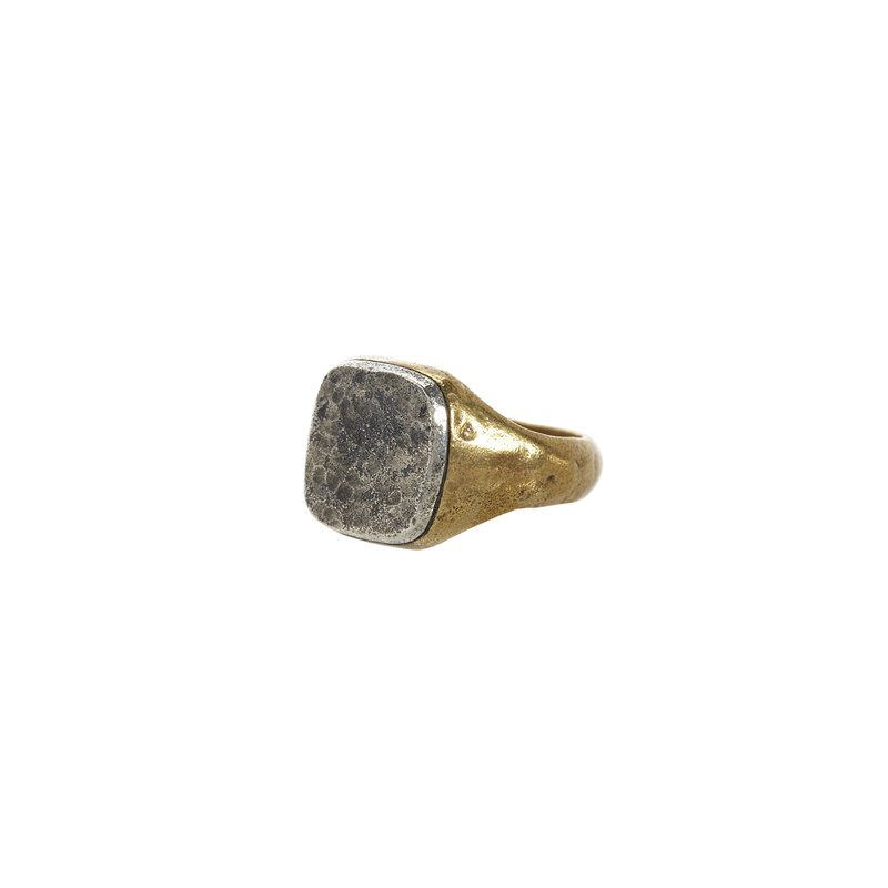 John Varvatos Silver and Brass Distressed Signet Ring