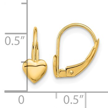 14k Madi K Heart Leverback Earrings