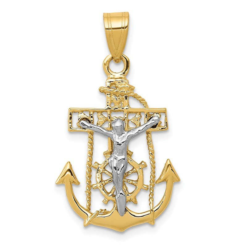 Quality Gold 14k Two-tone Mariners Cross Pendant