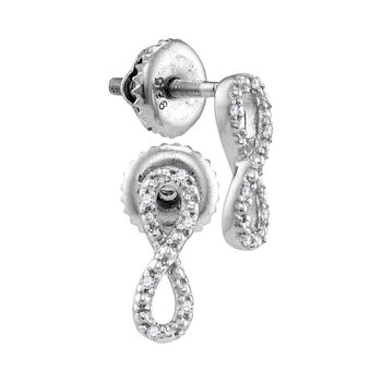 Sterling Silver Womens Round Diamond Vertical Infinity Screwback Earrings 1/20 Cttw
