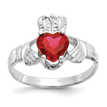 14k White Gold July CZ Birthstone Claddagh Ring
