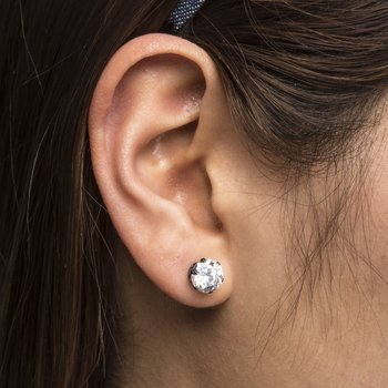 Black Plated Steel with Clear CZ Stud Earrings (Unisex)