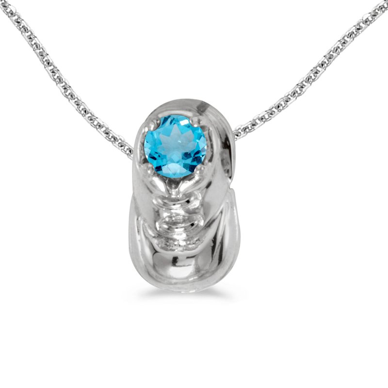 Color Merchants 14k White Gold Round Blue Topaz Baby Bootie Pendant