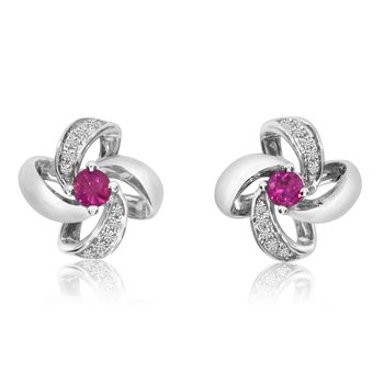 14k White Gold Ruby Flower Single Cut And Diamond Earrings