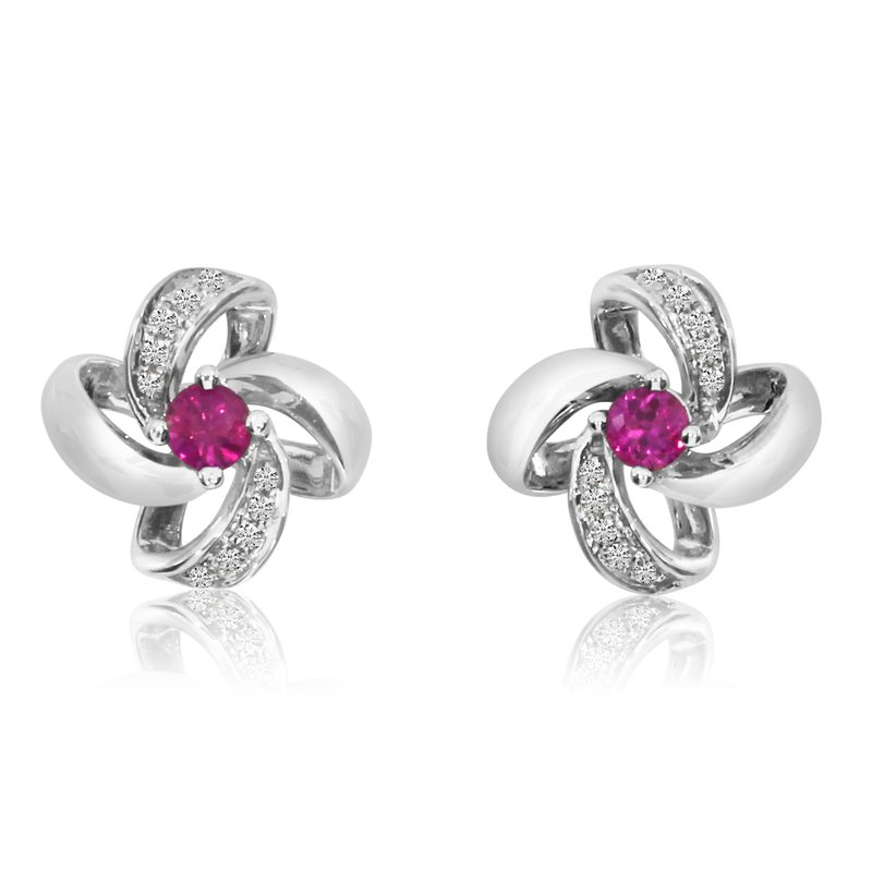Color Merchants 14k White Gold Ruby Flower Single Cut And Diamond Earrings