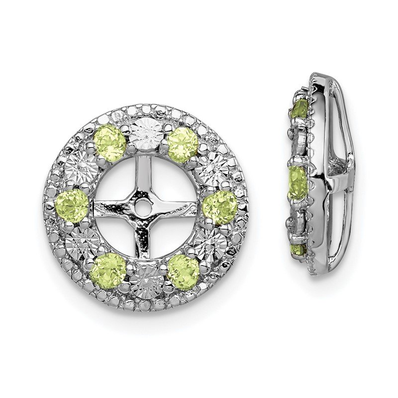 Quality Gold Sterling Silver Rhodium Peridot Earring Jacket