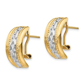 14k Polished & Rhodium Omega Back Post Earrings