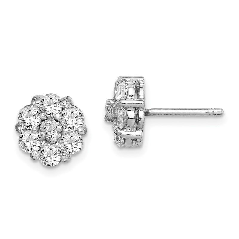 Quality Gold Sterling Silver Rhodium-plated CZ Flower Cluster Post Earrings
