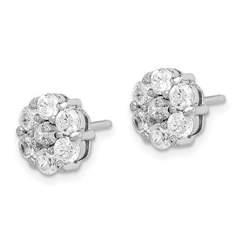 Sterling Silver Rhodium-plated CZ Flower Cluster Post Earrings