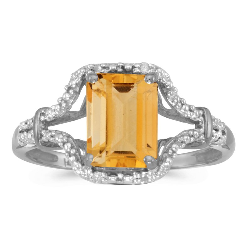 Color Merchants 10k White Gold Emerald-cut Citrine And Diamond Ring