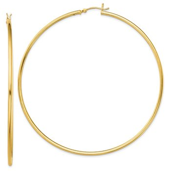 Sterling Silver Gold-Tone Polished 2x80mm Hoop Earrings