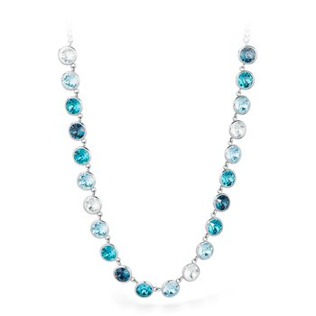 316L stainless steel and montana, light turquoise, indicolite and aquamarine Swarovski® Elements