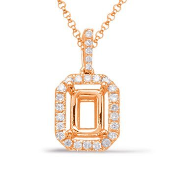 Diamond Pendant For 9X7mm Emerald Cut
