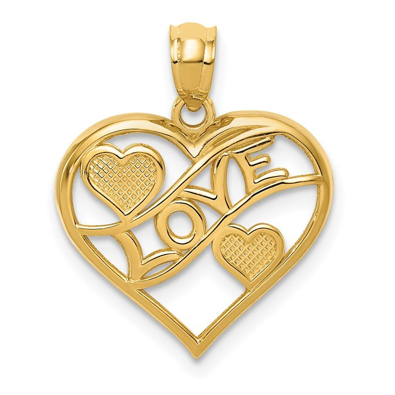 Quality Gold 14k Polished LOVE and Hearts In Heart Pendant