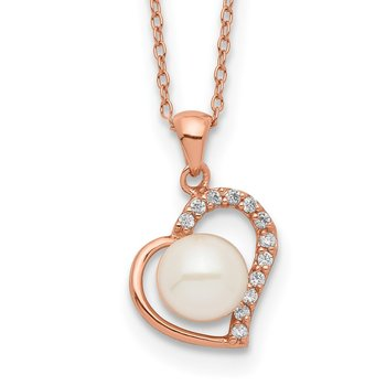 Sterling Silver Rose-tone 18k Flash-pl 7-8mm Button FWC Pearl Necklace