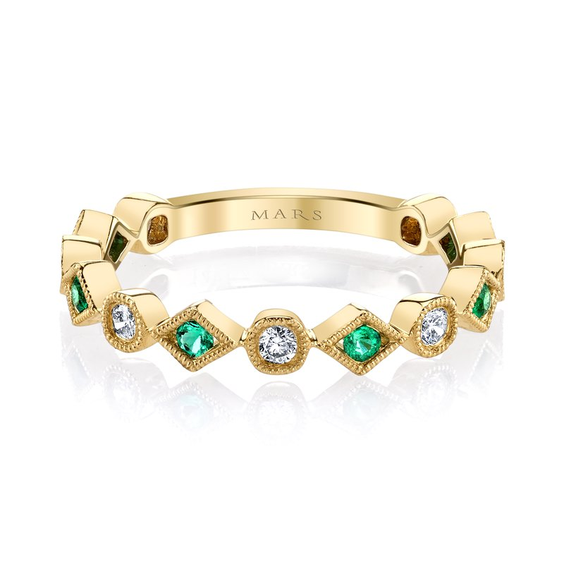 MARS Jewelry MARS 26213YGEM Stackable Ring, 0.19 Dia, 0.14 Emerald