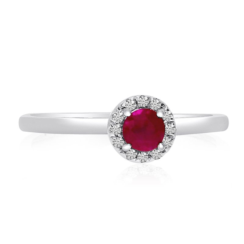 Color Merchants 10k White Gold Halo Ruby and Diamond Ring