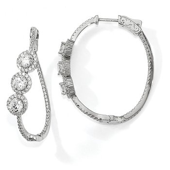 Sterling Silver Polished Curvy Round Halo CZ In and Out Oval Hoop Earrings