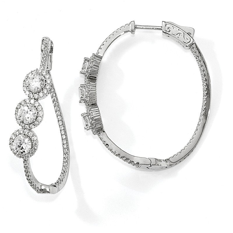 Quality Gold Sterling Silver Polished Curvy Round Halo CZ In and Out Oval Hoop Earrings