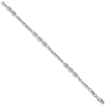 14K White Gold Polished Fancy Link Bracelet